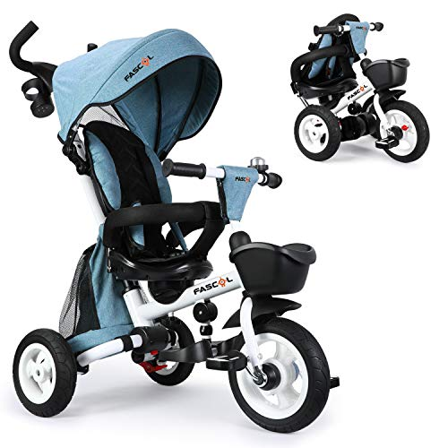 Fascol Dreirad 6 in 1 Kinderwagen Klappbar Kinderdreirad mit Lenkbarer Schubstange Fahrrad für Kinder ab 6 Monate bis 5 Jahren mit 360° Drehsitz, Gummiräder, Abnehmbarer Sonnendach, Blau