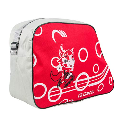 Vosarea Bolsa de Almacenamiento de Zapatos de Patinaje portátil Impresos de Moda Organizador de Almacenamiento de Correa de Hombro Ajustable Bolsa de Almacenamiento de patín de Rodillos (Rojo)
