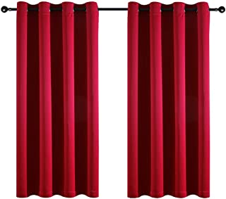 Taisier Home Grommet Top Style Soild Blackout Curtain Drapes 63 Inch Length for Living Room/Bedroom,Room Darkening Blackout Window Curtains Pair Set, 52