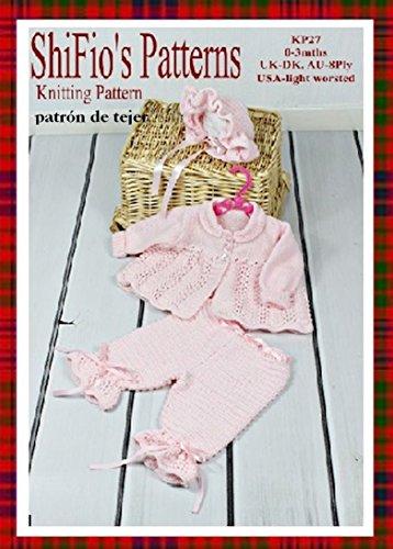 patrón para dos agujas - KP27 - chaqueta matinée, pantalones y sombrero para bebé 0 –3 meses