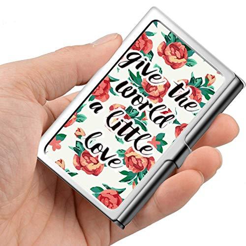 Tarjeta de visita profesional, estuche de billetera de acero inoxidable Titular de la tarjeta de identificación de tarjeta de crédito Dé su amor