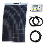 Kit de carga solar de 120 W y 12 V con panel solar semiflexible reforzado