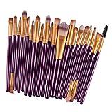 F Fityle 20 Unids/Set Juego de Brochas de Maquillaje Suave para Fundación Blush Concealer Eye Shadow - Oro púrpura