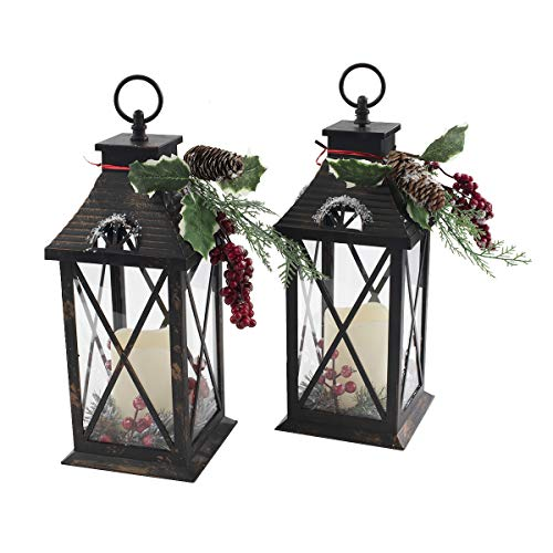 Quality Craft XL19032 Lantern with Candle Set of 2 Holiday Decoration, Black