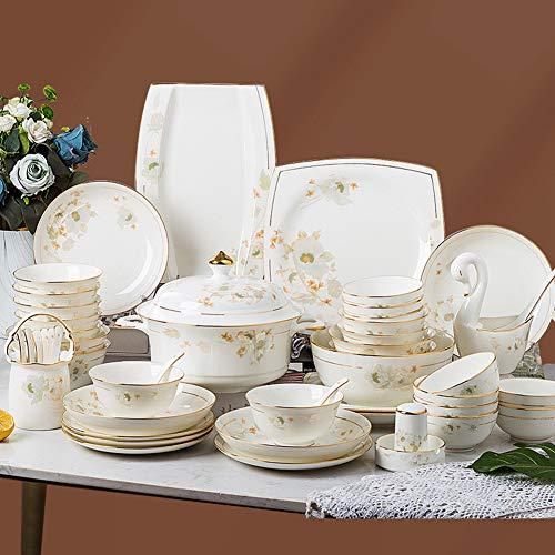 XLNB Set de vajilla de Porcelana de 62 Piezas: Festivo de Romance de la Flor, Conjuntos de Placas con Plato de Cena, Placa de Postre, Taza, Taza para Fiesta, Fiesta, reunión Familiar
