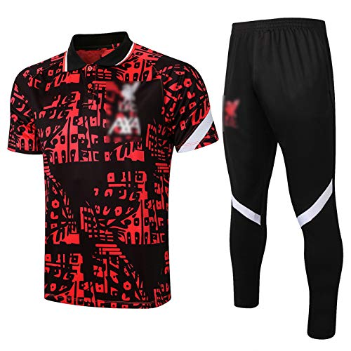 BVNGH Liverpool - Traje de entrenamiento de fútbol para hombre, manga larga, transpirable, traje de entrenamiento de fútbol (abrigo + pantalones) (S-XXL) S