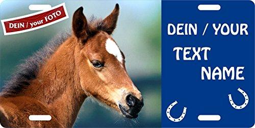 Holashirts Mallorca Pferde-Schild mit eigenem Foto, Name, Text, Boxenschild Stallschild Plaque Blechschild Signs Türschild für innen und außen, 305x152mm