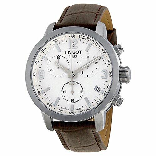 Gifts and Jewels Co. Tissot Tissot PRC 200 Cronografo Bianco Quadrante Brown In pelle Mens Orologio T0554171601701