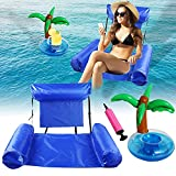 Xnuoyo Hamaca Flotante Flotadores Piscina Agua Silla Inflable de Flotación Hamaca de Agua Cama Flotante de Agua con Portavasos Flotante, para Fiesta en la Playa para Niños y Adultos