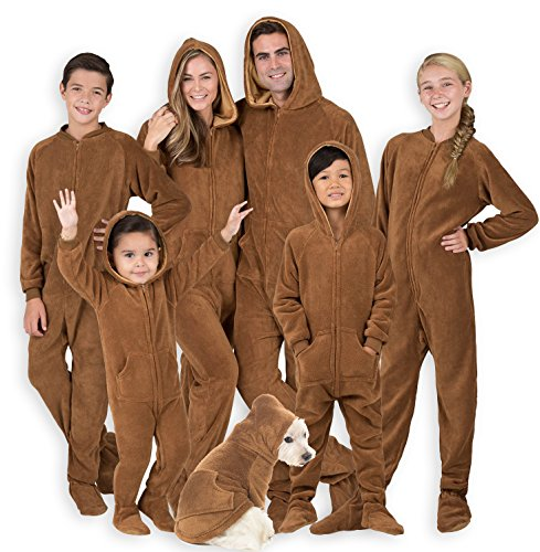 Footed Pajamas - Family Matching Chocolate Brown Hoodie Onesies for Boys, Girls, Men, Women and Pets (Pet - Large (Fits Up to 50 lbs))