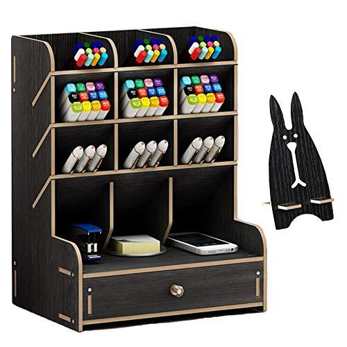 Marbrasse Organizador de escritorio de madera, multifuncional, para escritorio, papelería, hogar, oficina, almacenamiento con cajón (B11-negro)