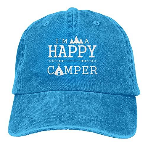 """N  A Gorra de béisbol con diseño de """"I'm A Happy Camper Baseball Dad Gorras Deportes Sombrero de mezclilla Gorra de béisbol Gorra de béisbol ajustable Casqueta para papá Azul"""