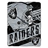 Officially Licensed NFL Oakland Raiders 'Deep Slant' Micro Raschel Throw Blanket, 46' x 60', Multi Color