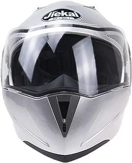 Anself Motorcycle Helmets Safe Double Visor Motor Cycle Moto Helmet Silver XXL