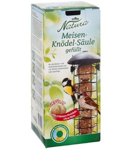 Dehner Natura Wildvogel-Futtersäule, Meisenknödelsäule mit 4 Knödeln, wiederbefüllbar, Metall, schwarz
