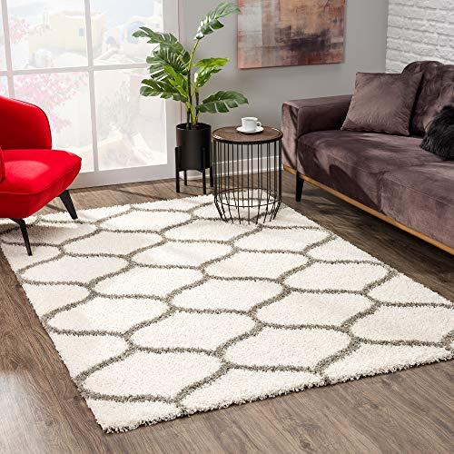 SANAT Madrid Shaggy Teppich - Hochflor Teppiche für Wohnzimmer, Schlafzimmer, Küche - Morocco Creme, Größe: 120x170 cm