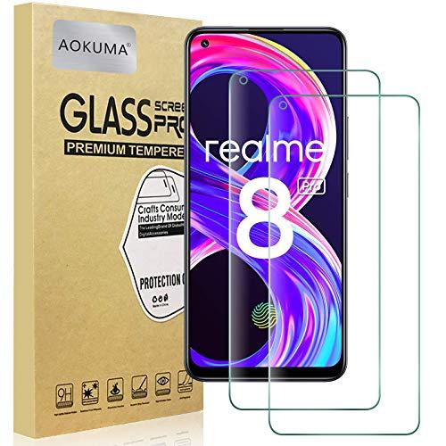 AOKUMA Cristal Templado OPPO Realme 8/8 Pro, [2 Unidades] Protector Pantalla para...
