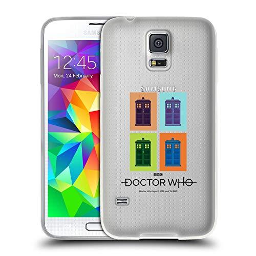 Officiële Doctor Who Tardis Pop Art Emojis Soft Gel Case Compatibel voor Samsung Galaxy S5 / S5 Neo