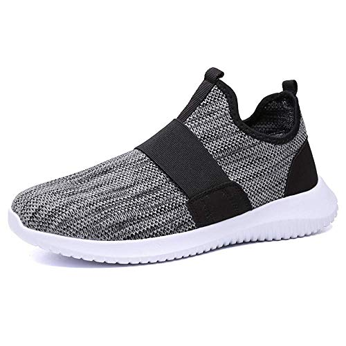 JSPOYOU Men's Breathable Running Shoe Casual Shoes Sports Shoes Gray