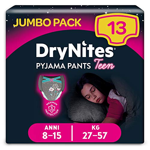 DryNites Braguitas Absorbentes para Niñas, 8-15 años, 27-5