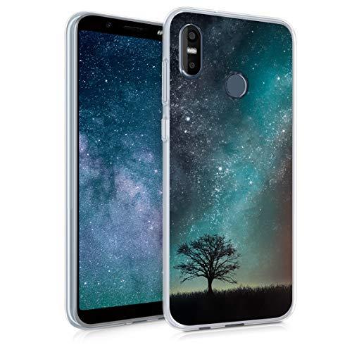 kwmobile Hülle kompatibel mit HTC U12 Life - Handyhülle - Handy Case Galaxie Baum Wiese Blau Grau Schwarz