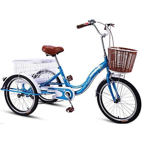 Triciclo Adulto Tricycle Adult Triciclo adulto para hombres mujeres, truco adulto 20 pulgadas 3 ruedas bicicleta doble freno de doble carbono marco de acero alto tres ruedas bicicletas bicicletas cruc