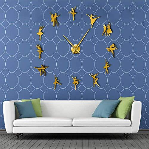 Djkaa Ballerina Wall Art knutselen grote wandklok met grote wijzers zonder lijst reuzenballetdanser wandklok dans meisje klok (47 inch)