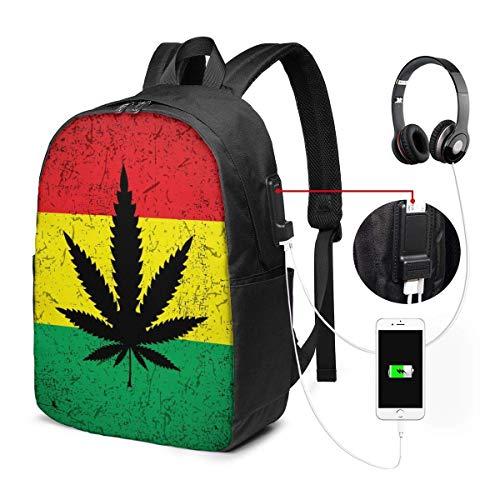 Mochila con Interfaz USB Unisex Backpack with USB Charging Port Annabis Leaf On Rastafarian Flag Classic Fashion General Business Bookbag