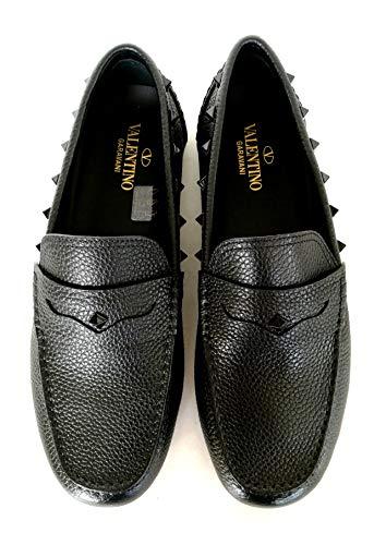 Valentino VLTN - Zapatillas Mocassini Driver para hombre de piel y tachuelas RY2S0B75WVG, color negro Negro Size: 40 EU