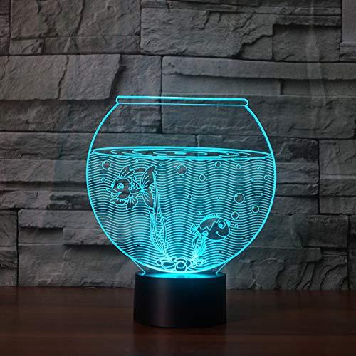 QAZEDC 3D nachtlampje 7 kleuren aquarium lamp 3d visuele LED nachtverlichting voor kinderen aanraking USB tafellamp lamp baby slee nachtlicht USB LED-lamp (gratis verzending)