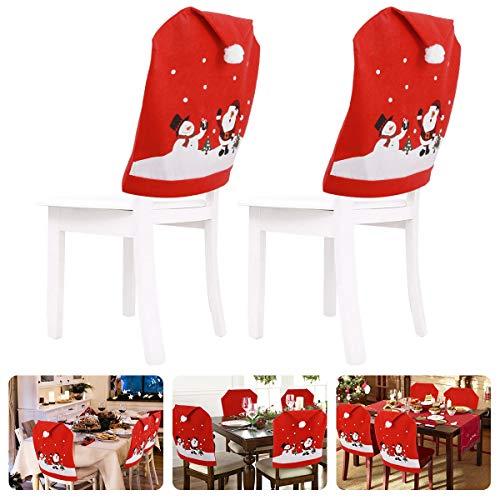 Ertisa 4 Stück Weihnachtsstuhlhussen Dekor, wiederverwendbare Weihnachtsstuhlhussen für Esszimmer mit Schneemann und Weihnachtsmann-Muster, für Küche, Esszimmerstühle, Weihnachten Dekorationen