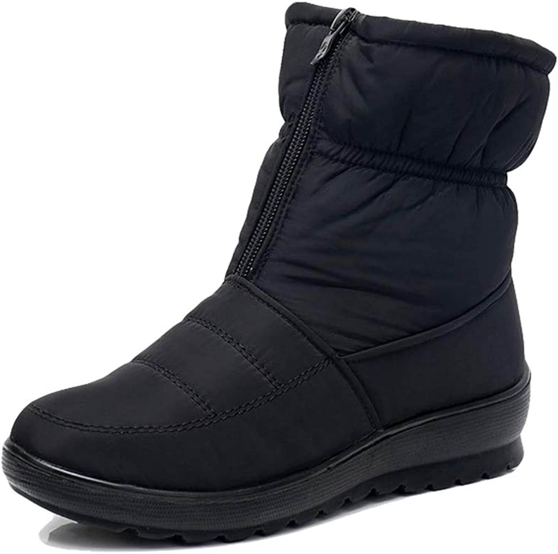 York Zhu Women's Ankle Boot,Flat Heel Zipper Warm Waterproof Anti-Slip Outdoor Snow Boots