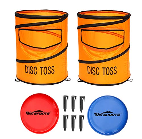 Win SPORTS Folding Disc Toss Game Set丨Flying Disc Toss Dunk Game Set丨Includes 2 Disc Targets with Bean Bag & 2 Flying Discs & Carrying Case丨Great for Backyard,BBQs,Tailgating