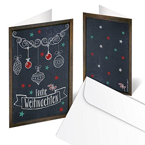 10-pack julkort – god jul svartvitt och rött bord och Kreideh vintage retro look öppen: 10,5 x 14,8 cm med kuvert för företagskunder