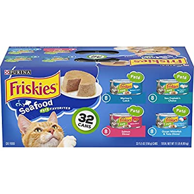 Friskies Wet Cat Food Variety Pack, Seafood Pate Favorites, (32) 5.5 Oz Cans