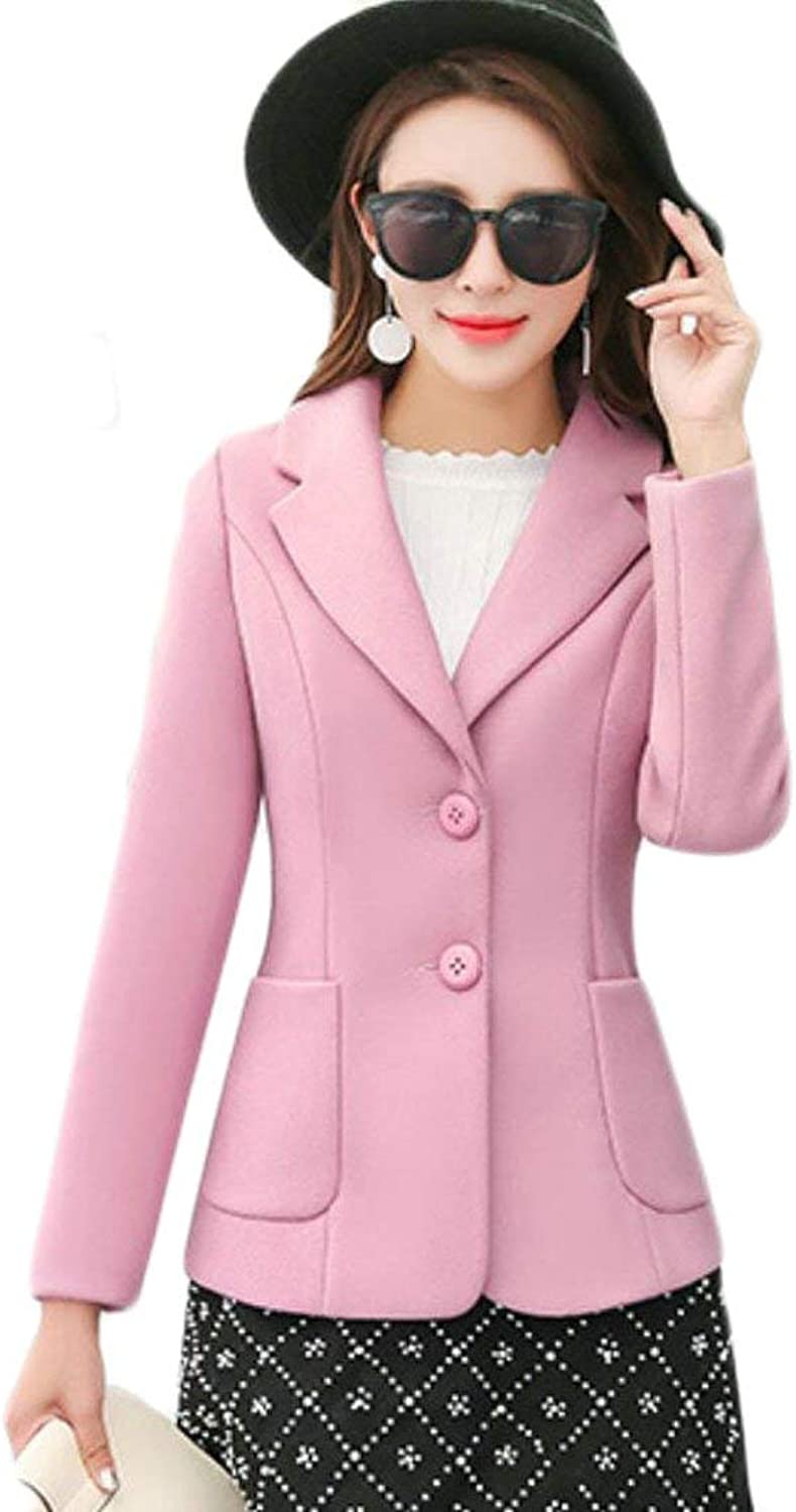Alion Women's Notched Lapel Slim Fit Two Button Solid color Wool Blend Blazer