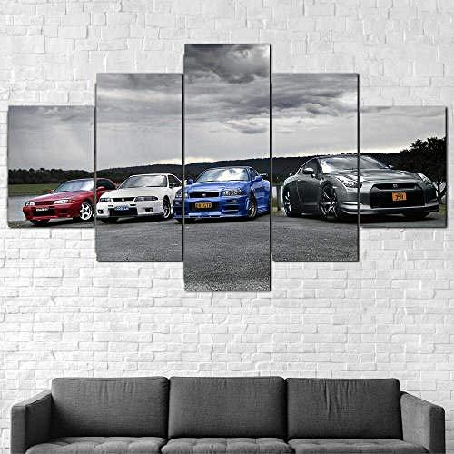 Airxcn Impresiones en Lienzo 5 Piezas Cuadro en Lienzo Obra de Arte Lienzos Póster Sala de Estar Moderna Decoraciones para el hogar y la Oficina Listo para Colgar Nissan Skyline GTR R32 R33 R34