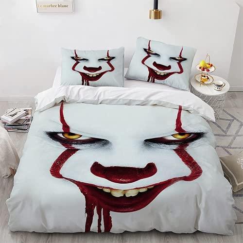 AGYGCW The Joker - Juego de funda nórdica de 135 x 200 cm, diseño de payaso, color blanco, 3 piezas para niños y niñas, regalo para fans de la película (The JokerV3,200 x 200 cm + 80 x 80 cm x 2)