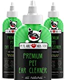 Cat & Dog Ear Cleaner Solution - Itch Relief for Dogs and Cats to Eliminate Head Shaking - Clear, No Mess Formula Vet Formulated Natural Pet Ear Cleaner with Aloe Vera & Eucalyptus (1 bttl)