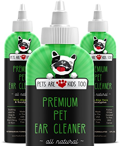 Cat & Dog Ear Cleaner Solution - Itch Relief for Dogs and Cats to Eliminate Head Shaking - Clear, No Mess Formula Vet Formulated Natural Pet Ear Treatment with Aloe Vera & Eucalyptus (1 bttl)