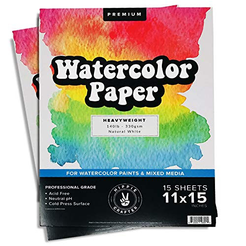 2Pk Watercolor Paper for Water Color Paint and Water Colors Markers and Pens 11' x 15' - 15 Sheets