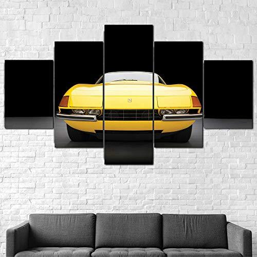 TTTRR Impresión En Lienzo Ferrar 365 GTS Daytona 5 Piezas Cuadro sobre Lienzo, Modernos Grandes Arte Decoracion Salon Dormitorios Mural Pared Listo para Colgar 150*80 Cm 🔥