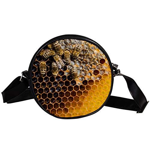 Bandolera redonda pequeña bolso de mano para mujer, bolso de hombro de moda, bolso de mensajero de lona, bolsa de cintura, accesorios para mujer, panal de abeja con abejas