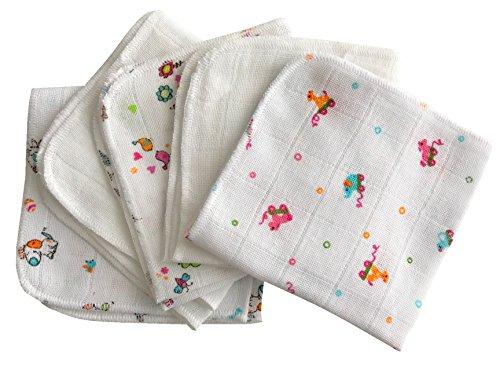 Babymajawelt® Baby Mull Waschlappen Premium, Stoff Weich, Baumwolle 5er710er-Sets, Allzwecktücher, Waschlappen für Babypflege & Co. (weiss-bunt 25x25 cm (5er Set))