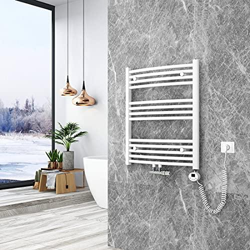 KOBEST Elektrischer Badheizkörper mit Thermostat Gebogener Handtuchtrockner für Wasser oder Strom Handtuchwärmer Mittelanschluss, Vertikal 750x600mm Weiß