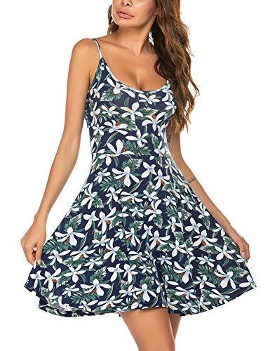 UNibelle - Vestido de verano para mujer, corto, hasta la rodilla, con tirantes, diseño de flores, tallas XS a XXL lirio L