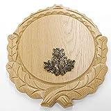 Placa de cuña tallada de roble claro AF 16 cm con 1 pieza de hoja de roble pequeña tabla cuña, tabla de especias, cartel trofeo.