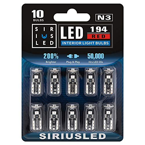 SIRIUSLED -N3- Red 194 LED Bulbs Extremely Bright 3030 Chipset for Car truck Interior Dome Map Door Courtesy Marker License Plate Lights Compact Wedge T10 168 2825 Pack of 10