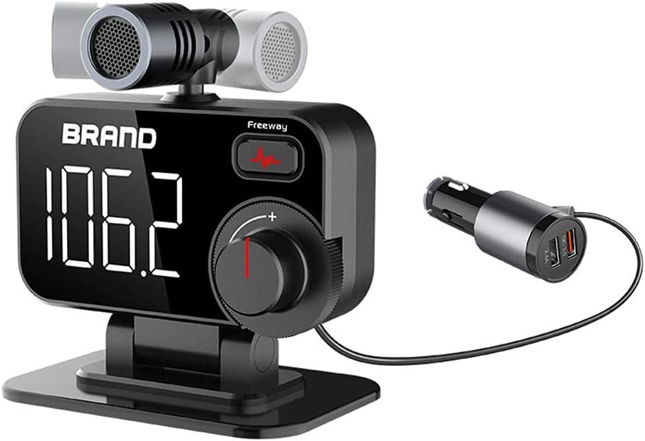Transmisor De Coche Bluetooth 5.0, Asudaro Micrófono Ajustable Cargador USB Dual Reducción De Ruido Manos Libres Transmisor De Coche Multifunción De Carga Reproductor MP3 Bluetooth para Coche