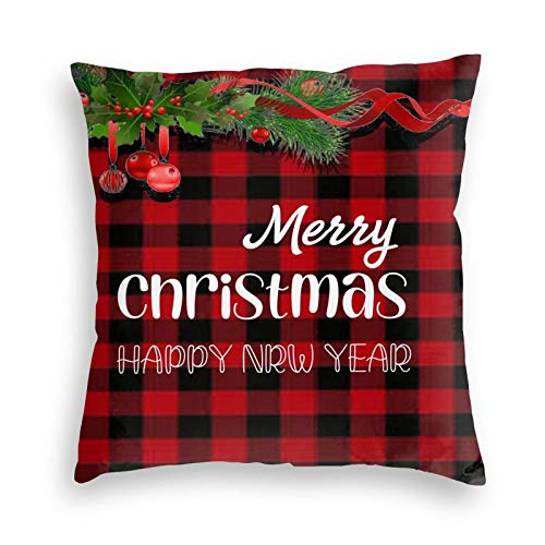 KLATIE Christmas Pillow Covers, 20x 20 Christmas Throw Pillowcase for BedroomCouch Sofa Bed Car,Round Buffalo Check Plaid Throw Pillow Cover (2020inch)